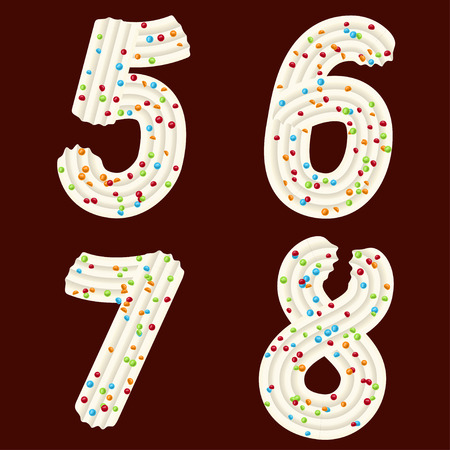 Tempting tipography. Font design. Icing letter. Sweet 3D numbers five, six, seven, eight of the whipped cream and candy. Vector