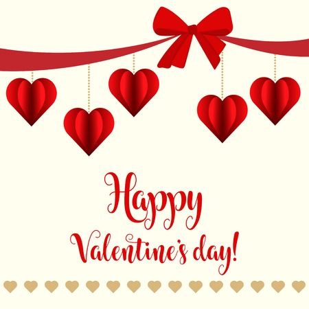 Valentine's day card with red hearts Stock Vector - 124354981