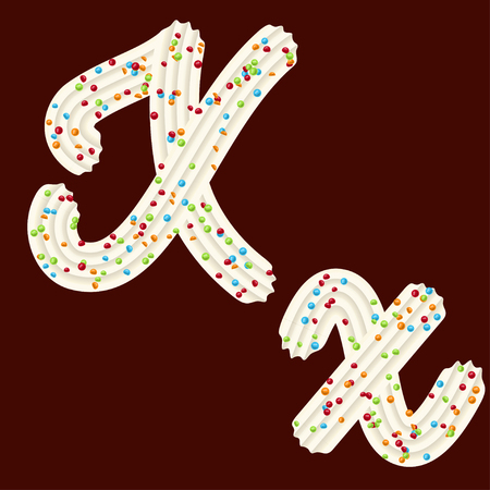 Tempting tipography. Font design. Icing letter. Sweet 3D letter X of the whipped cream and candy. Vector