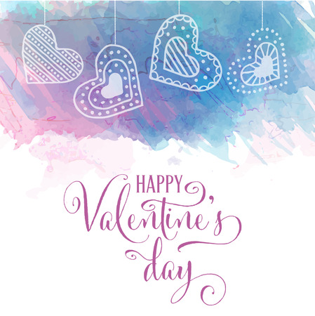Watercolor Valentine's day card Stock Vector - 124354985