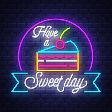 Sweet food- Neon Sign Vector. Sweet food -  Badge in neon style on brick wall background, design element, light banner, announcement neon signboard, night advensing. Vector Illustration  イラスト・ベクター素材