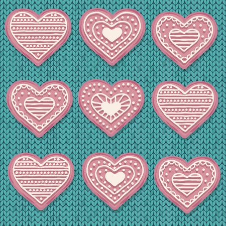 Pink  heart cookies isolated on knitted  background. Love background. Vector.