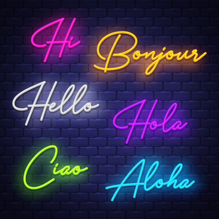 Hello, neon calligraphy. Neon letters of greeting phrase in different languages. Vector Foto de archivo - 121667221