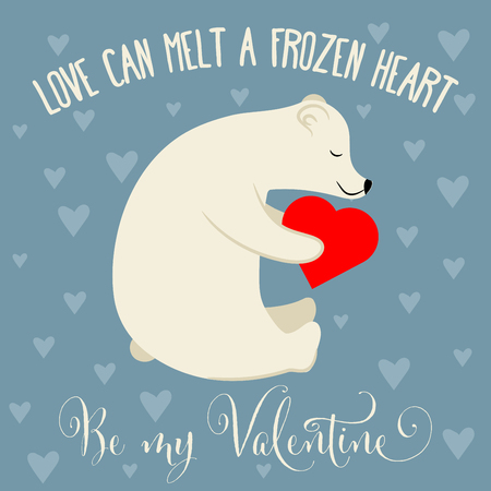 Valentine's day card with polar bear. Flat design Banque d'images - 124355006