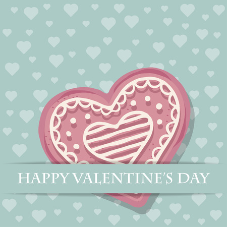 Beautiful love card with pink heart cookie Stock Vector - 121667232