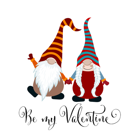Valentines day card with gnomes couple in love, scandinavian card