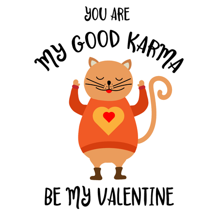 Funny Valentines day card with cat. Flat design Illustration