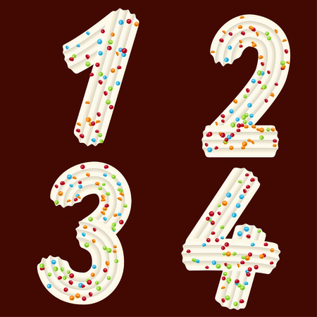 Tempting tipography. Font design. Icing letter. Sweet 3D numbers one, two, three, four  of the whipped cream and candy. Vector 向量圖像