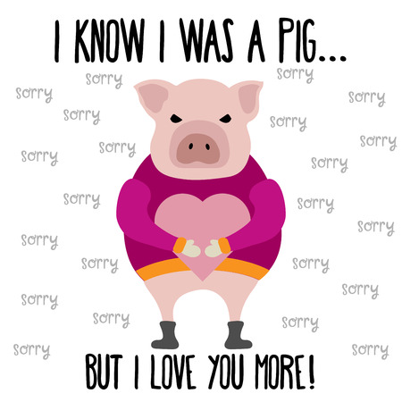 Funny Valentines day card with pig Ilustrace