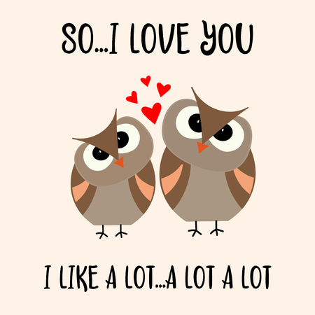 Funny Valentines day card with birds couple. Flat design