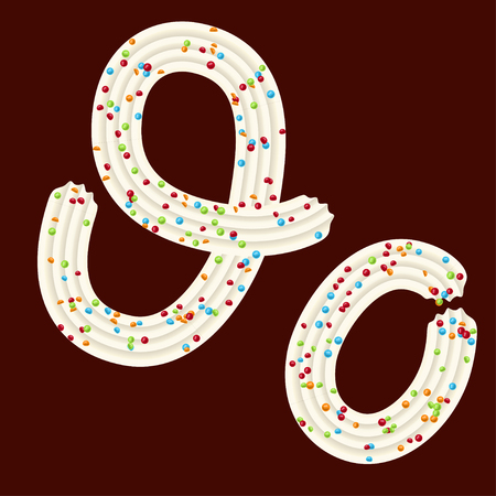 Tempting tipography. Font design. Icing letter. Sweet 3D letter O of the whipped cream and candy. Vector Illustration