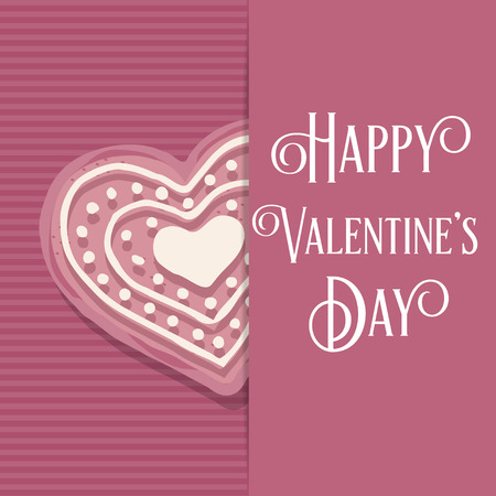 Valentine's day love card with pink heart cookie Stock Vector - 124355034