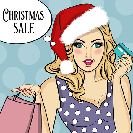 Promotional Christmas sale poster with pop art Santa girl Illustration