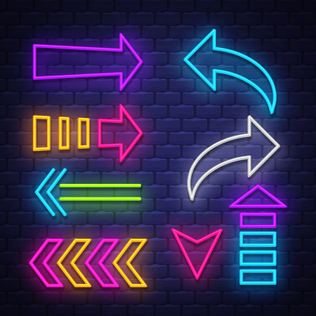 Big collection neon arrows. Neon arrows symbols design elements. Vector  イラスト・ベクター素材