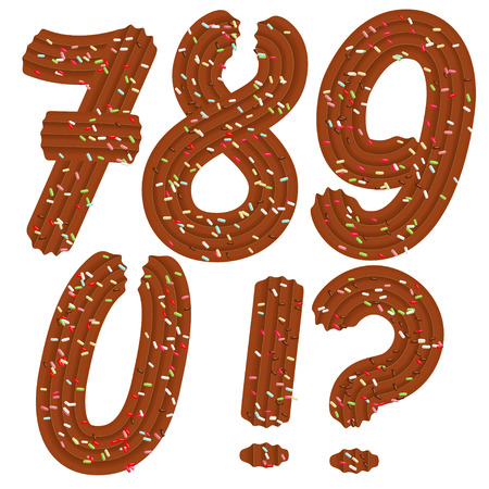 Tempting tipography. Font design. Icing letter. Sweet 3D numbers 7.8.9.0 and punctuation  marks of the chocolate cream and candy. Vector