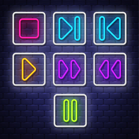 Big collection neon music symbols. Neon symbols design elements. Vector
