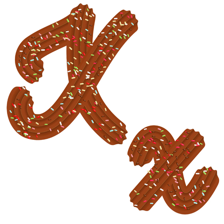 Tempting tipography. Font design. Icing letter. Sweet 3D letter  X of the chocolate cream and candy. Vector