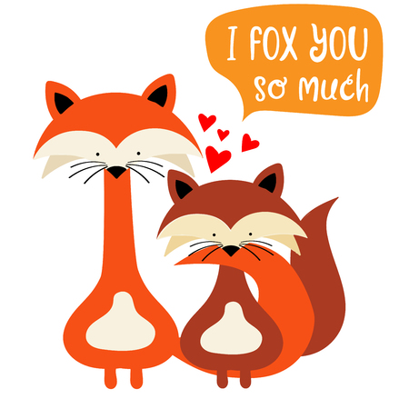 Foxes couple in love. Funny Valentine's day card