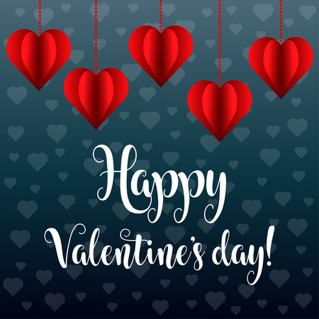 Valentine's day card with red hearts Stock Vector - 124355056