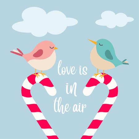 pajaritos enamorados, el amor está en el aire Ilustración de vector