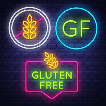 Gluten Free badge collection . Allergy sign. Neon sign. Vector