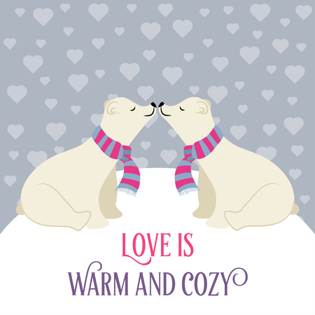 Polar bears in love Stock Illustratie