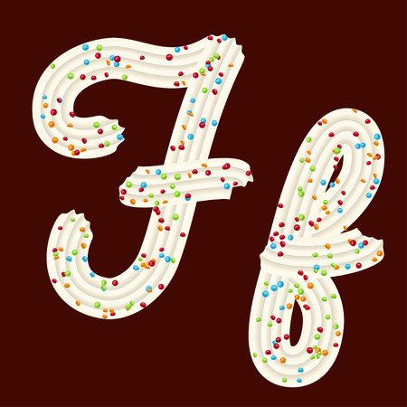 Tempting tipography. Font design. Icing letter. Sweet 3D letter F of the whipped cream and candy. Vector 向量圖像