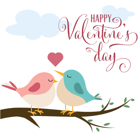 Valentines day card with cute birds in love, flat design Illusztráció