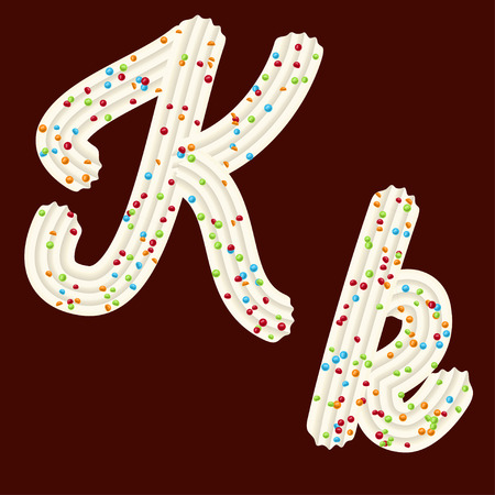 Tempting tipography. Font design. Icing letter. Sweet 3D letter K of the whipped cream and candy. Vector Illustration