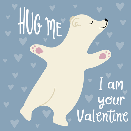 Cute Valentines day card with polar bear. Flat design Ilustrace