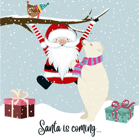 Santa is coming, funny Christmas illustration