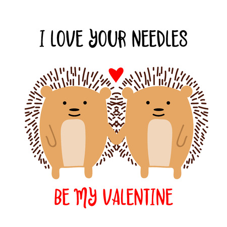 Hedgehogs couple in love. Valentines day card