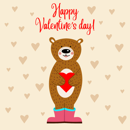 Valentine's day card with bear. Flat design