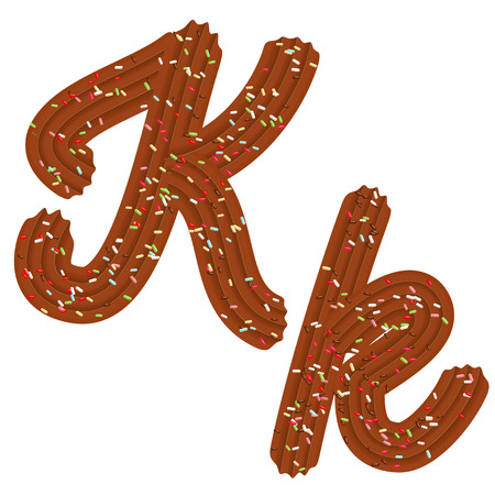 Tempting tipography. Font design. Icing letter. Sweet 3D letter  K of the chocolate cream and candy. Vector Ilustrace