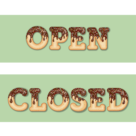 Tempting  typography. Icing text. Words open and closed glazed with chocolate and candy. Donut letters. Collection items. Vector