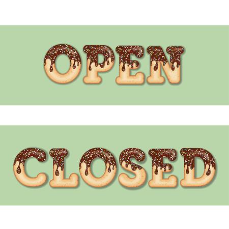 """Tipografía tentadora. Guinda del texto. Palabras """"abierto"""" y """"cerrado"""" glaseado con chocolate y dulces. Letras de donas. Artículos de colección. Vector"""
