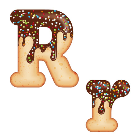 Tempting typography. Font design. Icing letter. Sweet 3D donut  letter R glazed with chocolate cream and candy. Vector Ilustração