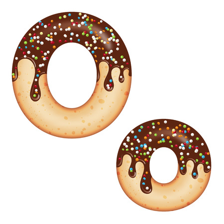 Tempting typography. Font design. Icing letter. Sweet 3D donut  letter O glazed with chocolate cream and candy. Vector