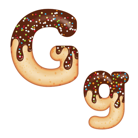 Tempting typography. Font design. Icing letter. Sweet 3D donut letter G glazed with chocolate cream and candy. Vector