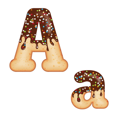 Tempting typography. Font design. Icing letter. Sweet 3D donut  letter A glazed with chocolate cream and candy. Vector