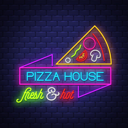 Pizza House - Neon Sign Vector. Pizza House - neon sign on brick wall background, design element, light banner, announcement neon signboard, night advensing. Vector Illustration