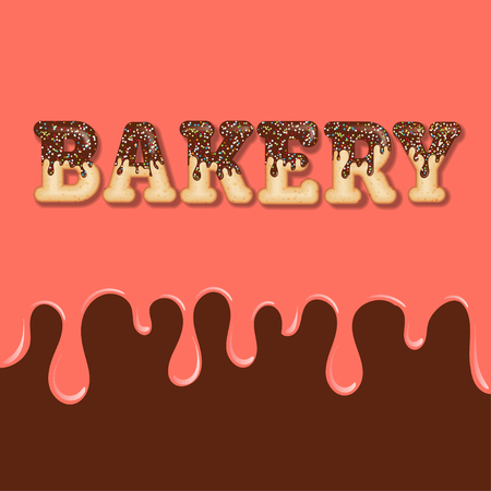 Tempting  typography. Icing text. Word  bakery glazed with chocolate and candy. Donut letters. Vector