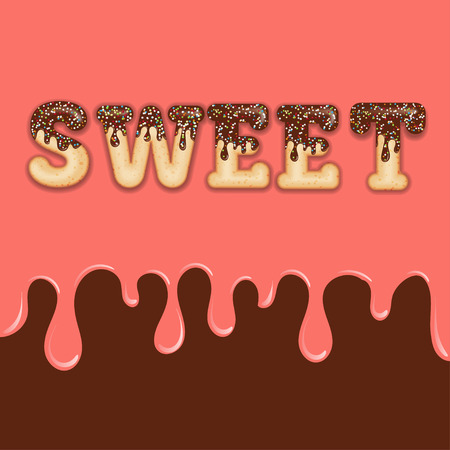 Tempting  typography. Icing text. Word  sweet glazed with chocolate and candy. Donut letters. Vector  イラスト・ベクター素材