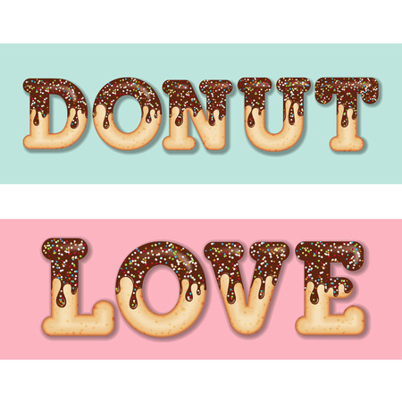 "Tempting typography. Icing text. Words ""donut"" and ""love"" glazed with chocolate and candy. Donut letters. Collection items. Vector"