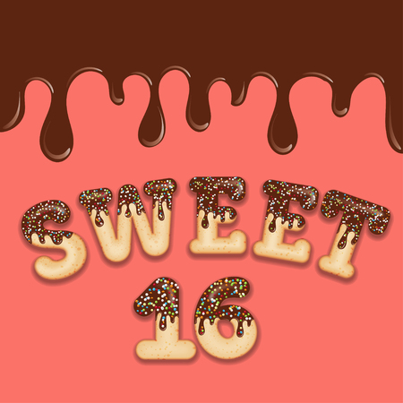 Tempting  typography. Icing text. Sweet sixteen birthday text glazed with chocolate and candy. Donut letters. Vector.  イラスト・ベクター素材