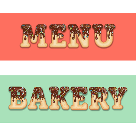 Tempting  typography. Icing text. Words menu and bakery glazed with chocolate and candy. Donut letters. Collection items. Vector