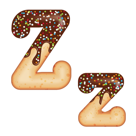 Tempting typography. Font design. Icing letter. Sweet 3D donut  letter Z glazed with chocolate cream and candy. Vector Illustration