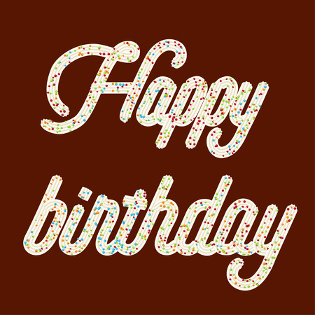 Tempting  typography. Icing text. Happy birthday whipped cream text glazed with candy. Vector. Ilustração