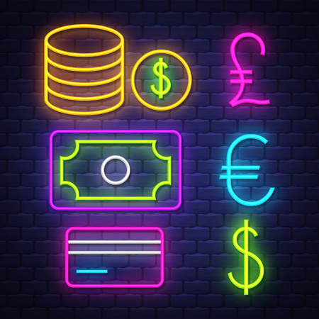 Money and banking neon signs collection. Money and banking  signs. Neon signs. Vector