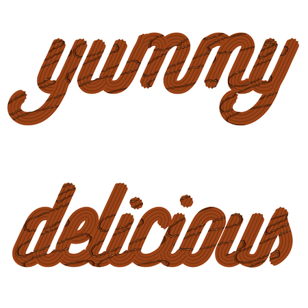 Tempting  typography. Icing text. Words delicious and yummy from chocolate cream glazed. Vector